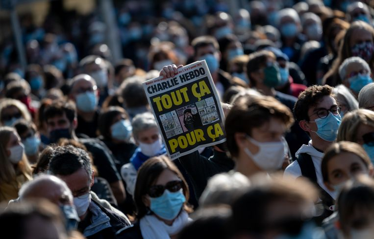 Een mars voor Samuel Paty in Nantes Beeld NurPhoto via Getty Images