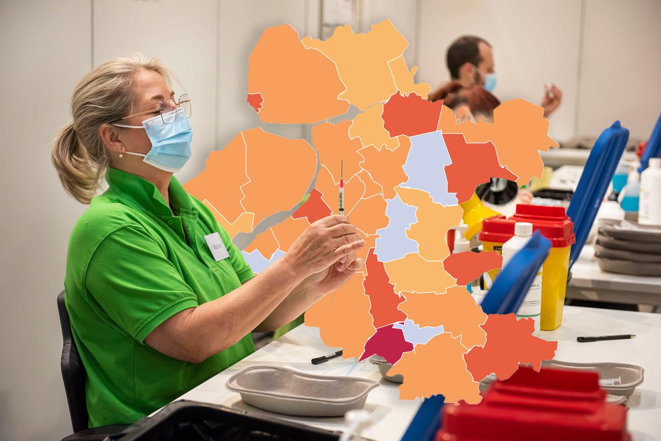De coronakaart van Oost-Nederland op donderdag 20 mei.