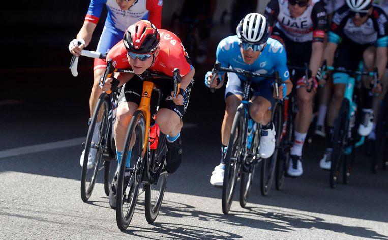 Matej Mohoric in de Ronde van Catalonië vorig weekend. Beeld Photo News