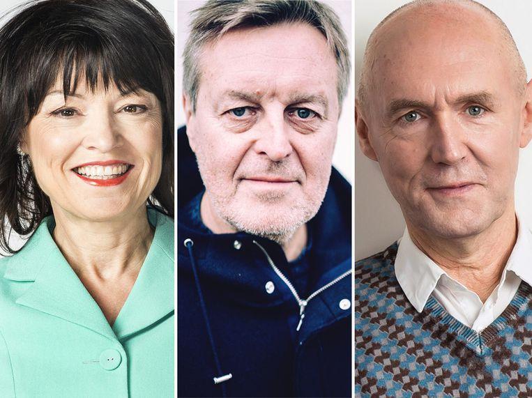 Linda De Win, Frank Raes en Michel Wuyts. Beeld VRT/Stefaan Temmerman/VRT - Joost Joossen
