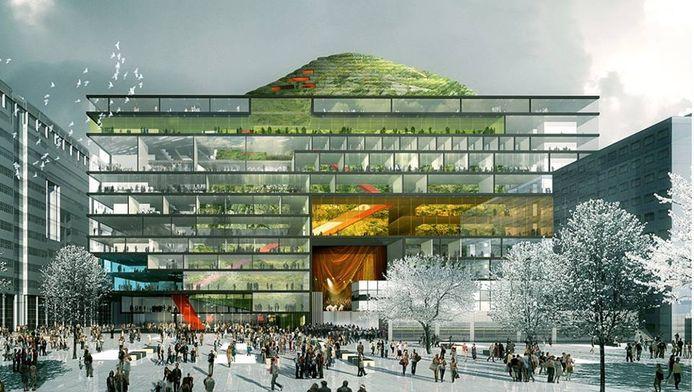 Dit ontwerp voor een Haags cultuurgebouw op het Spuiplein stamt uit 2010 en is van Architecten Cie. Dit Amsterdamse bureau zou nu opnieuw - met ander ontwerp - een gooi doen naar de opdracht.
