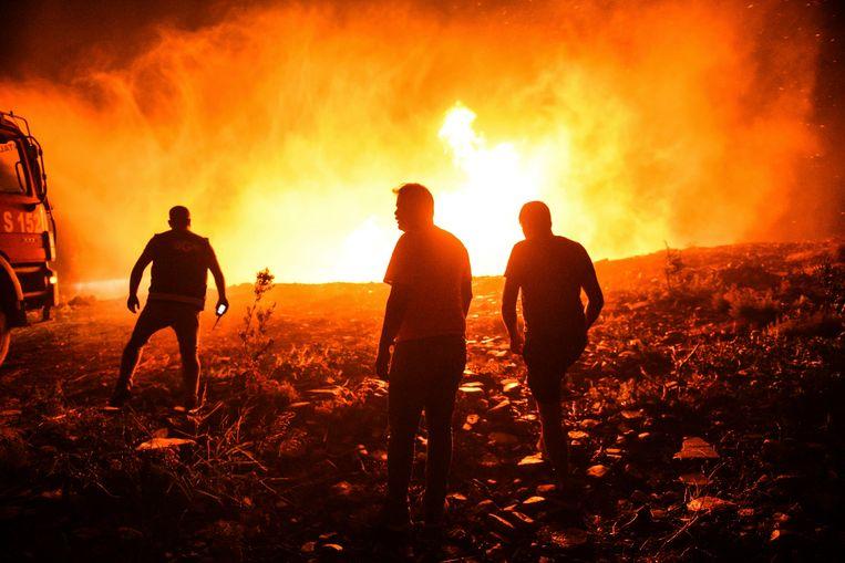 De brandweer probeert de vlammen te temmen in Manavgat, in de provincie Antalya. Beeld AP