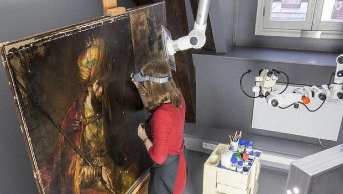 Het schilderij Saul en David tijdens restauratie.