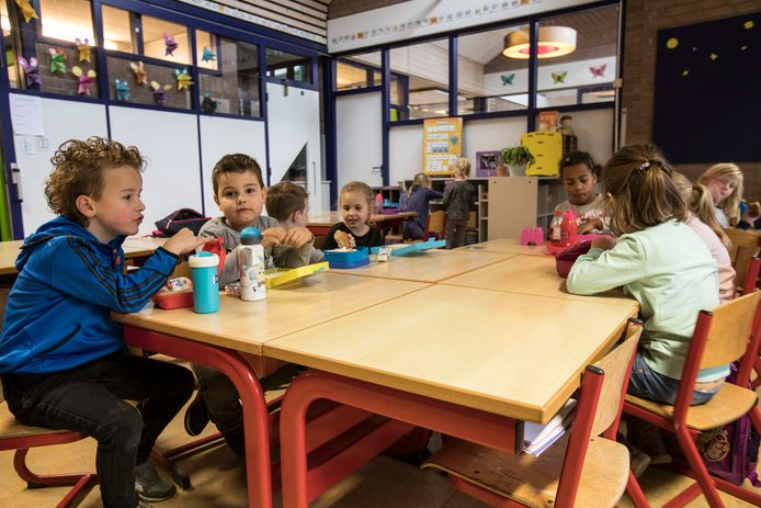 Kinderen van basisschool Talentrijk in Helmond tijdens de middagpauze.