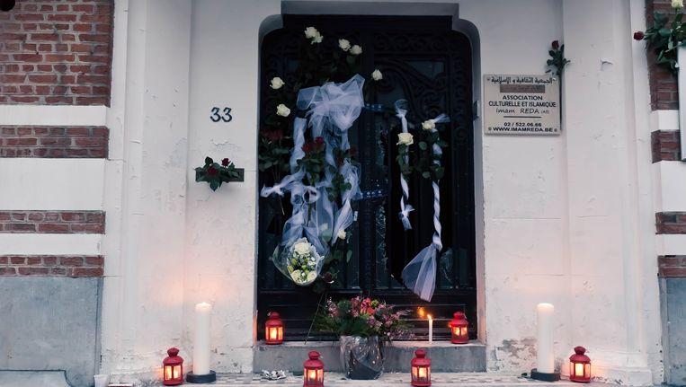 In maart werd een dodelijke aanslag gepleegd op de Reda-moskee in Anderlecht. Beeld BELGA