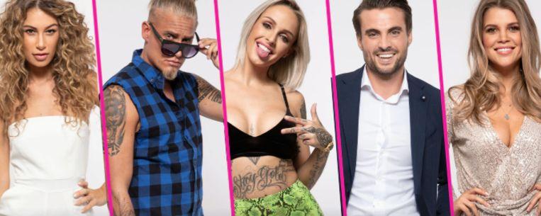 Deze vijf celebrities gaan op zoek naar de liefde. Van links naar rechts: Chey, Diaz, Pommeline, Jarne en Justine.