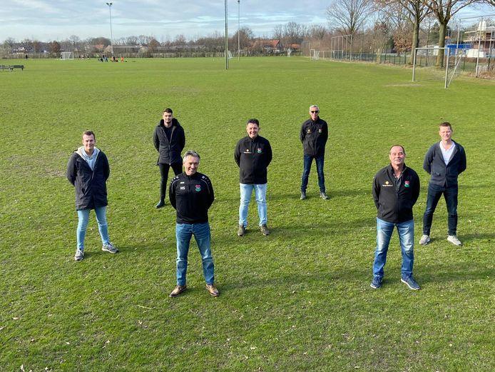 Van links naar rechts: Frank van de Pas, Thomas Kuijken, Hans Schoenmakers, Marc Verhoeven, Marcel Waarma, Johan Rijkers en Bob Jamers. Op de foto ontbreekt Rob Lommers.