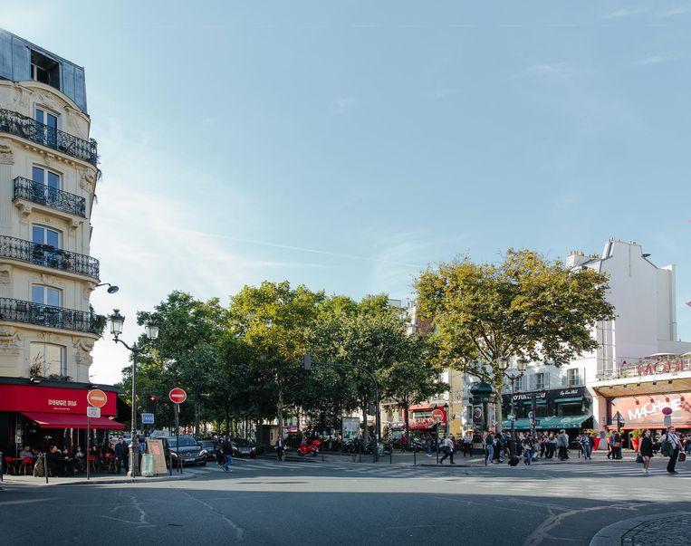 Dezelfde plek, de Boulevard de Clichy vanaf de Rue Blanche in Parijs, nu. Beeld Alex Cretey Systermans