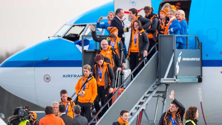 De Nederlandse olympiërs kwamen gisteren aan in Nederland. Beeld ANP