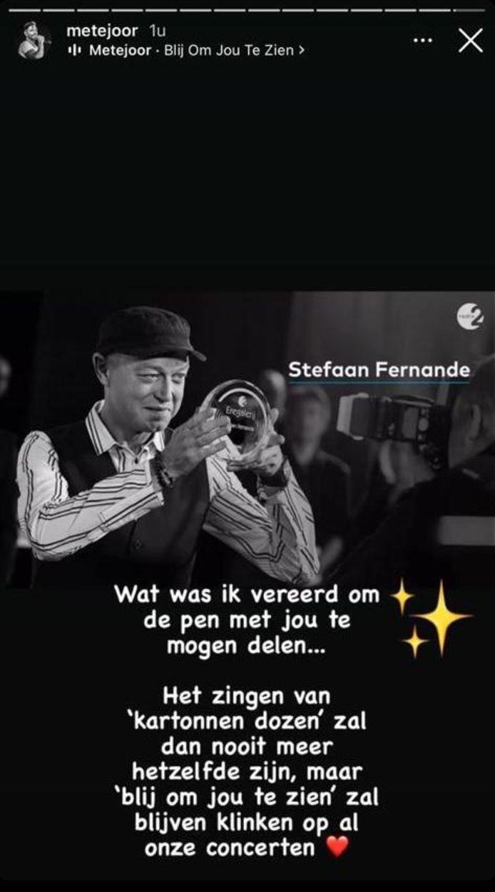 Reactie van Metejoor op overlijden Stefaan Fernande