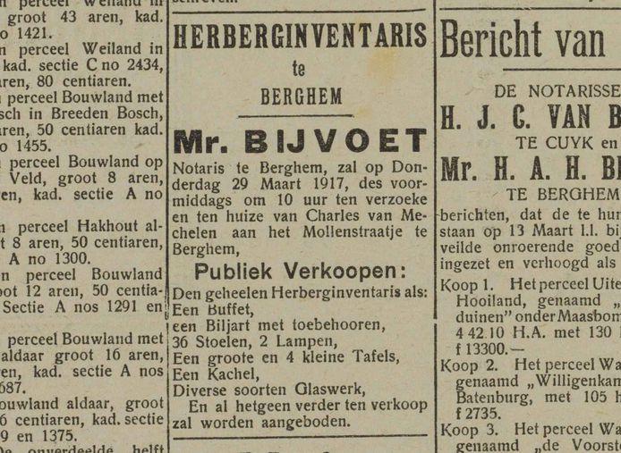 Openbare verkoop in 1917 van de gehele caféinventaris van Charles van Mechelen in Berghem. Natuurlijk ook met biljart.