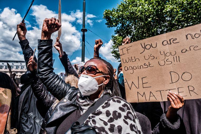 Black Lives Matter-betoging in Brussel, op 7 juni. Beeld Tim Dirven