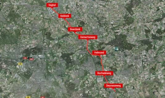 Het tracé van de nieuwe N279 tussen Veghel en Helmond.