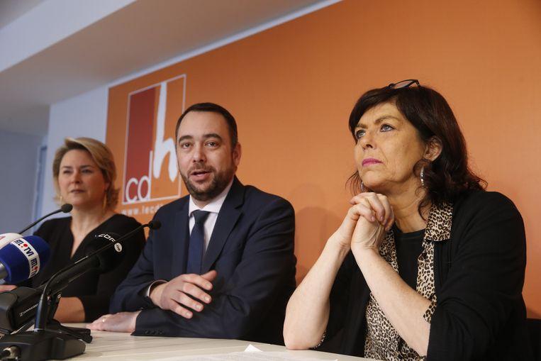 CdH-kopstukken Céline Fremault, Maxime Prévot en Joëlle Milquet tijdens een persconferentie van de Franstalige christen-democraten vandaag. Beeld BELGA