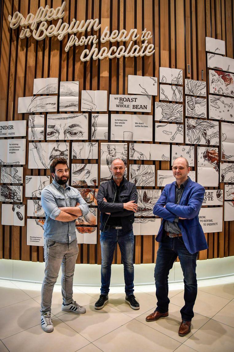 De laureaten van de wedstrijd 'praline voor morgen': Jaël Verleysen, Olivier Willems en Nick Wauters.