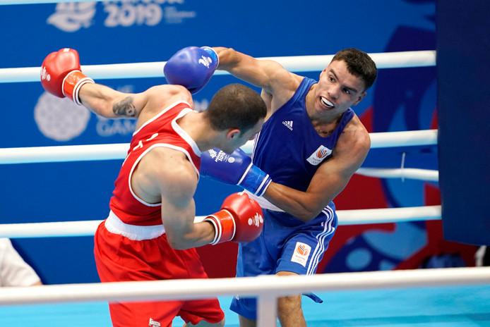 Enrico Lacruz eerder dit jaar op de European Games in actie tegen de Italiaan Paolo de Lernia.