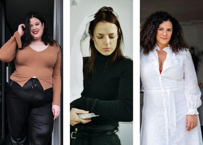 Plussize blogster Marianne Nykjaer, lingerie-ontwerpster Murielle Scherre en styliste en actrice Hilde Destoop.