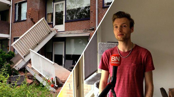 Twee balkons van de flat in Oudenbosch kwamen begin september naar beneden. Onderzoek wijst nu uit dat veel meer balkons gevaarlijke scheuren vertonen. Rechts: bewoner Shiva Kerdel.