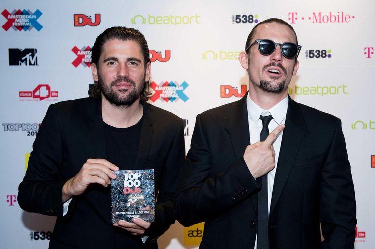 Dimitri Vegas en Like Mike triomfeerden vorig jaar in Amsterdam. Beeld