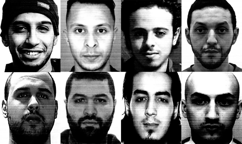 De belangrijkste terroristen achter de aanslagen in Parijs. Beeld AFP/RV /Photo news / DR