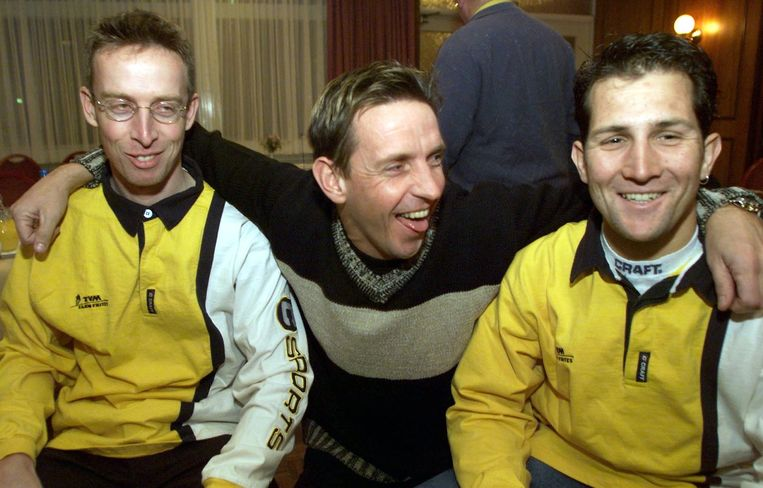 Bart Voskamp (links) en Jeroen Blijlevens in 1998. In het middden Steven Rooks. Beeld anp