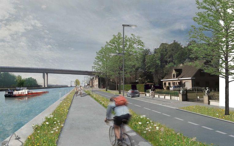Een toekomstbeeld van de fietssnelweg langs het kanaal tussen Vilvoorde en Grimbergen.