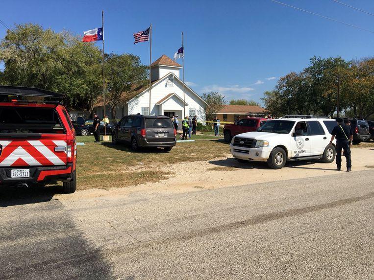 De kerk waar de schietpartij plaatsvond, in Sutherland Springs, Texas. Beeld REUTERS