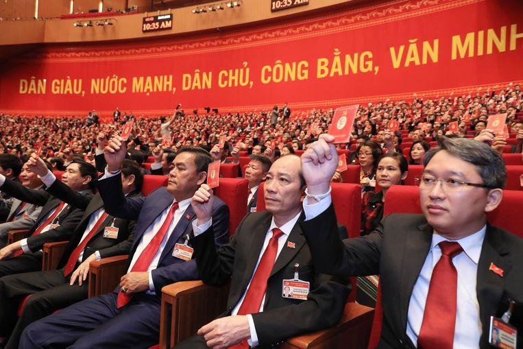 Het dertiende nationale congres van de Vietnamese Communistische Partij ging maandag van start Beeld EPA