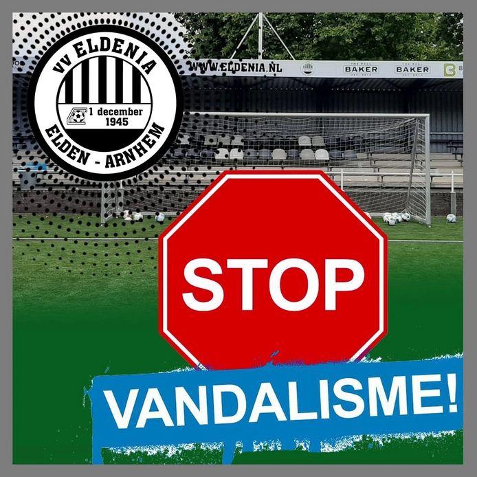 Ook voetbalvereniging Eldenia heeft de afgelopen maanden veel last gehad van vandalisme