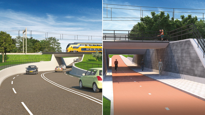 Links de geplande autotunnel bij de Voorpoort, rechts de nieuwe fietsers- en voetgangerstunnel bij de Nieuweweg-Noord tussen Veenendaal en Renswoude