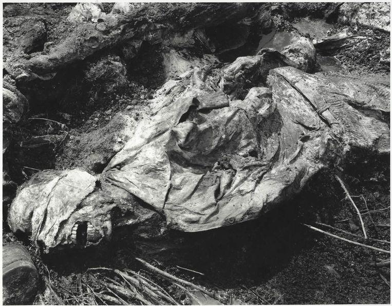 Een van de massagraven bij Srebrenica waar de lijken van geëxecuteerde moslims zijn gevonden. De beelden zijn gebruikt als bewijsmateriaal in het Joegoslavië-tribunaal. Beeld ap
