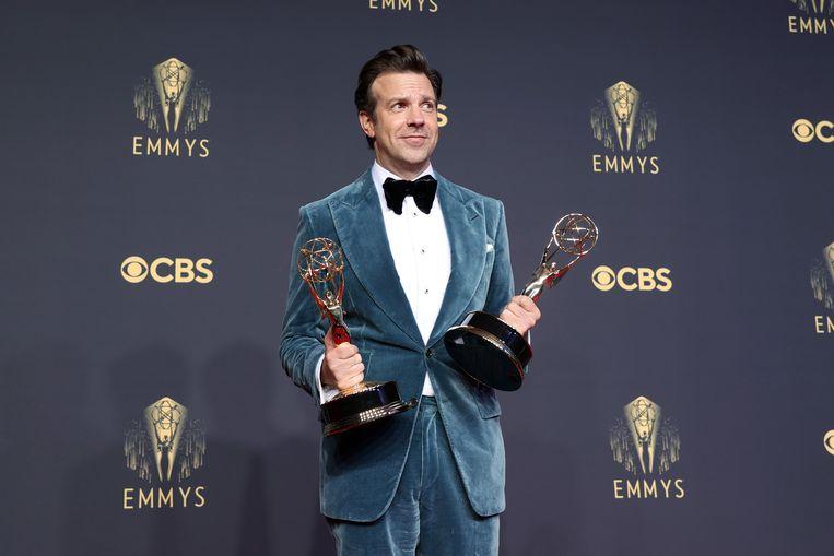 Jason Sudeikis, met de prijzen voor beste comedyserie en beste comedyacteur. Beeld Getty Images