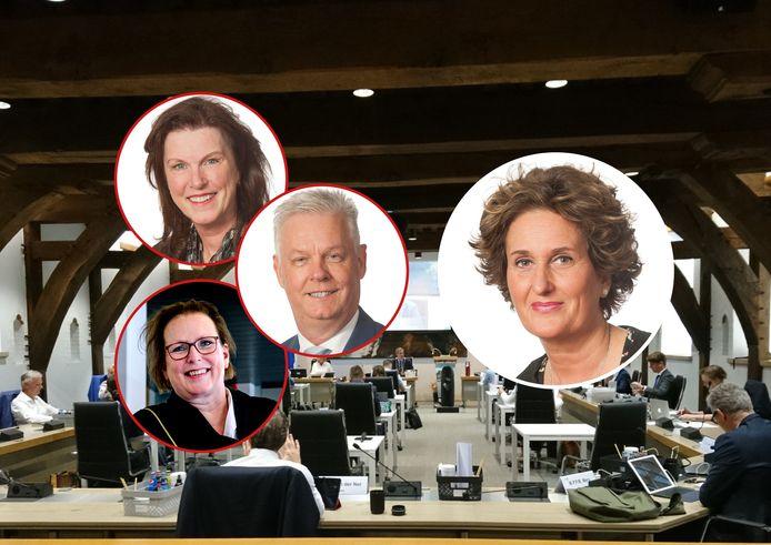 Loudy Nijhof (rechts) werd tijdens de vergadering van repliek gediend door Kitty Kruger, Wim van der Kruijff en Irene Koene.
