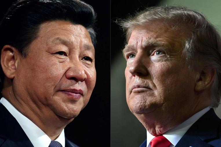 De Chinese president Xi Jinping (l) en de Amerikaanse president Donald Trump (r).