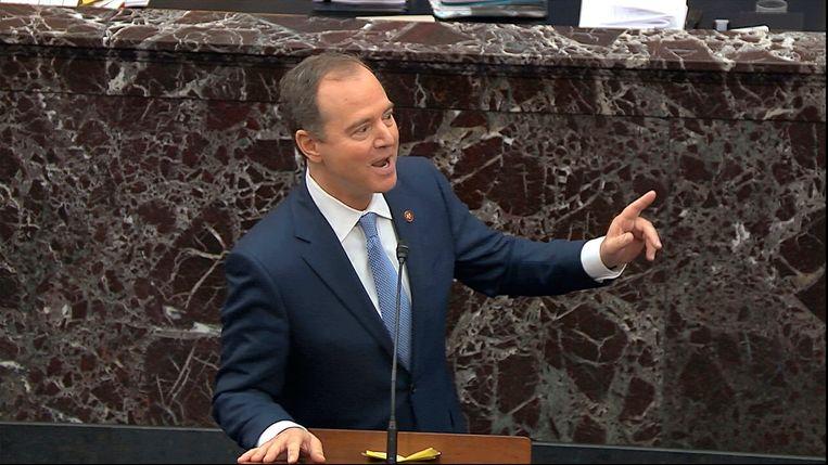 Hoofdaanklager  Adam Schiff leidt de debatten in de Amerikaanse Senaat. Beeld AP