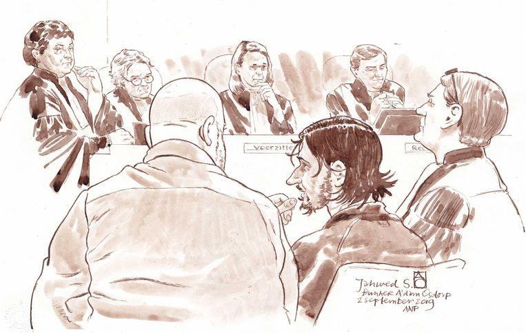 Tekening van Jawed S. (midden) in de rechtbank. Beeld ANP