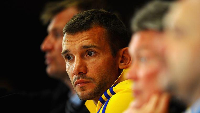 Andrei Sjevtsjenko op de persconferentie na de winst op Zweden, waar hij twee keer scoorde. Beeld getty