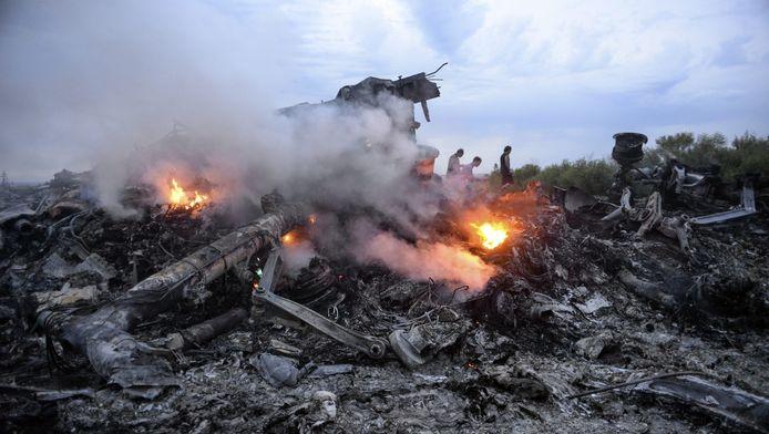 Brokstukken van de Boeing 777 die donderdag neerstortte.