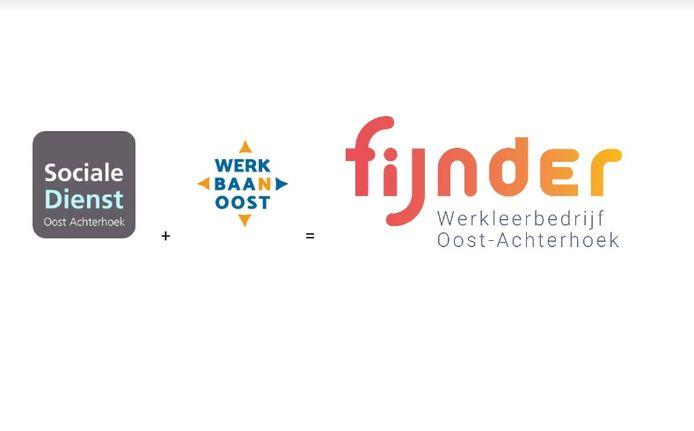 De huidige logo's van sociale dienst SDOA, Werkbaan Oost en het nieuwe van Fijnder, Werkleerbdrijf Oost-Achterhoek.