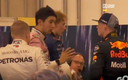 Max Verstappen heeft een confrontatie met Esteban Ocon na afloop van de Grand Prix van Brazilie. Videstills Ziggo Sport