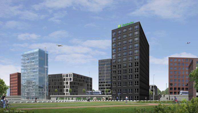 Impressie van het nieuwe hotel (rechts) op Flight Forum.