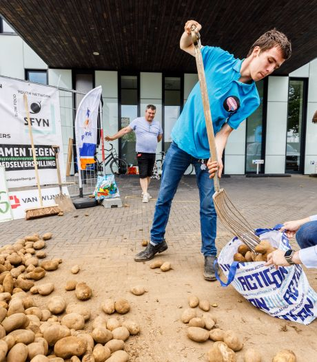 Enorm berg aardappelen in Lelystad: piepers scheppen en patat eten in strijd tegen voedselverspilling