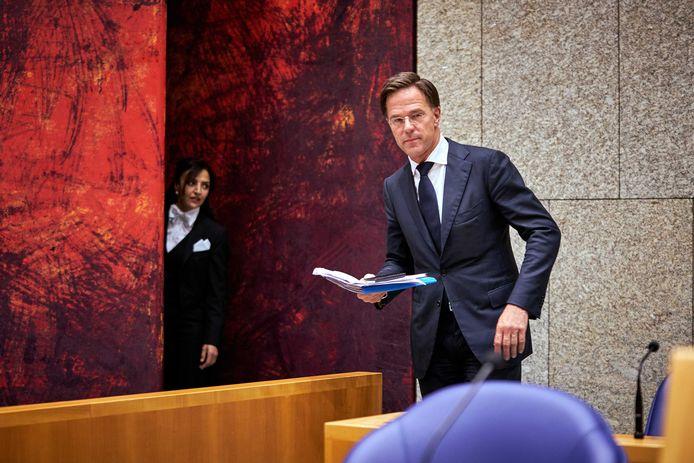 Premier Mark Rutte tijdens het debat in de Tweede Kamer over het Europese herstelfonds.