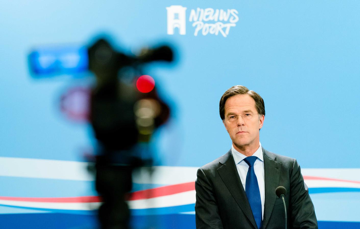 Premier Mark Rutte tijdens een eerdere persconferentie.