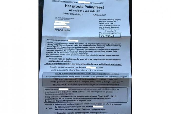 De oplichtingsbrief die inwoners van Duiven hebben ontvangen.