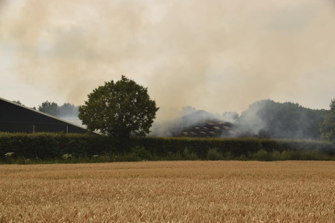 Veel rook door hooibrand in Pannerden.