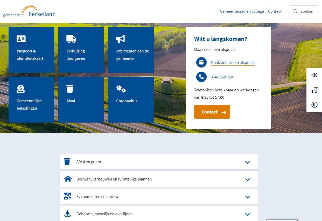 De nieuwe website van de gemeente Berkelland.
