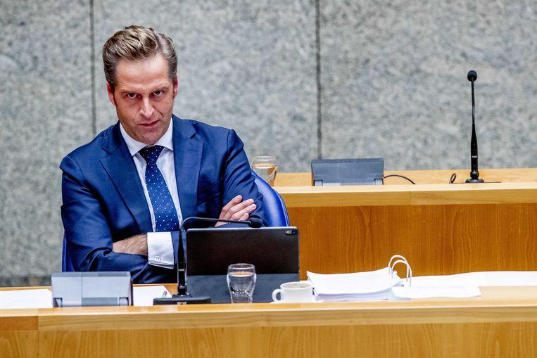Minister Hugo de Jonge (Volksgezondheid, Welzijn en Sport) tijdens een debat in de Tweede Kamer over de vaccinatiestrategie. Beeld ANP