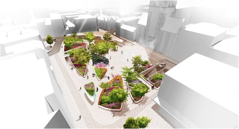 Studiebureau Omgeving maakte deze toekomstbeelden van het Esplanadeplein.
