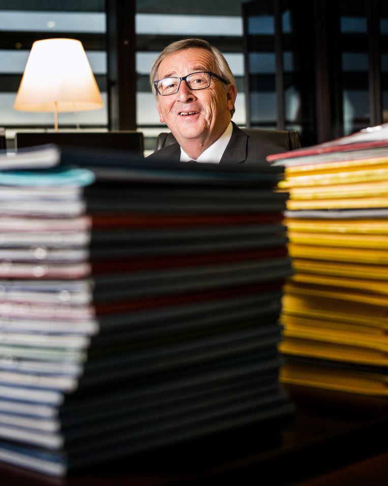 Jean-Claude Juncker: 'Ík ben er zeker van dat ik weg ben op 1 november, maar het Verenigd Koninkrijk? We zullen zien.' Beeld Jiri Büller